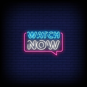 Assista agora neon signs style text