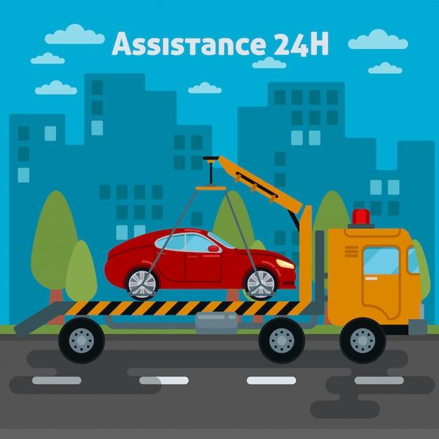 Assistência automóvel. carro de assistência na estrada. caminhão de reboque. ilustração vetorial