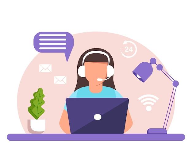 Assistência, call center. mulher com fones de ouvido e microfone com laptop.