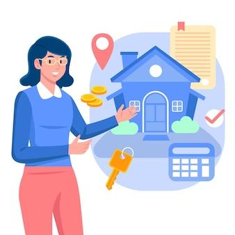 Assistência de corretor de imóveis com mulher e casa
