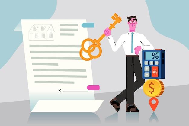 Assistência de corretor de imóveis de design plano com homem e chave Vetor Premium