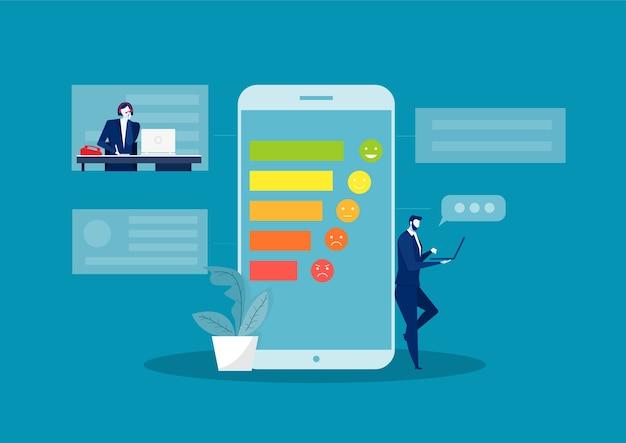 Assistência de feedback de call center para atendimento ao cliente na internet ou telefone.