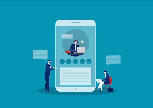 Assistência de feedback de call center para atendimento ao cliente por telefone.