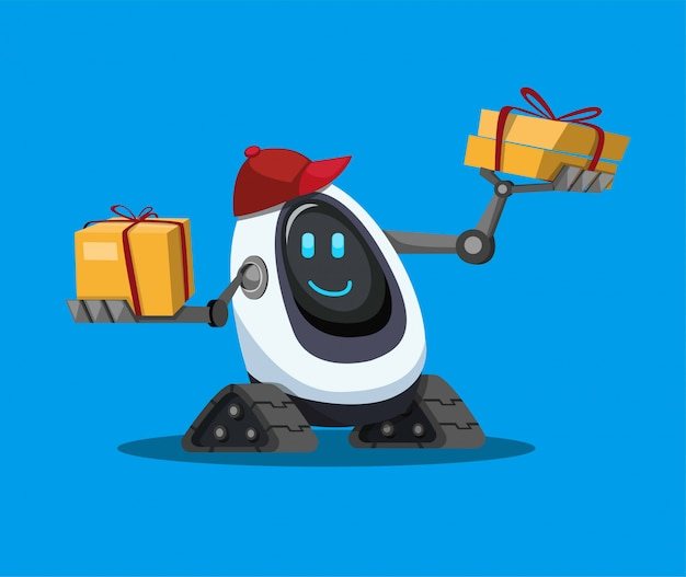 Assistência de robô carregando pacote de caixa de papelão, entrega de robô de correio para o cliente no vetor de ilustração plana dos desenhos animados