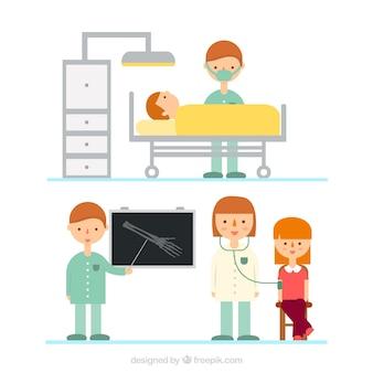 Assistência médica em design plano