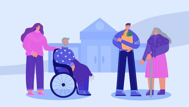 Assistência social ao idoso. voluntários ajudando idosos