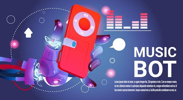 Assistência virtual do robô da música do bot do bate-papo do web site ou de aplicações móveis, inteligência artificial c