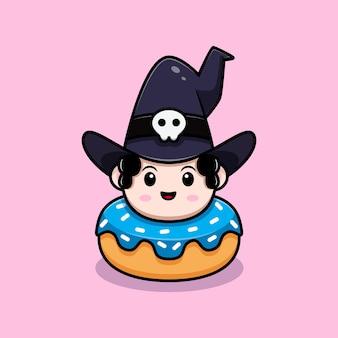 Assistente bonito dentro do personagem de avatar de conto de fadas de donuts. ilustração dos desenhos animados