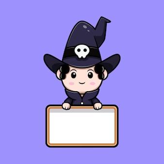 Assistente bonito segurando o personagem de avatar de conto de fadas de placa de texto em branco. ilustração dos desenhos animados