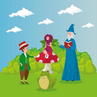 Assistente com homem e mulher disfarçada flor no conto de fadas de cena