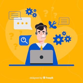 Assistente de call center ajudando os clientes