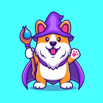 Assistente de cão bonito corgi com ilustração de ícone dos desenhos animados de varinha mágica.