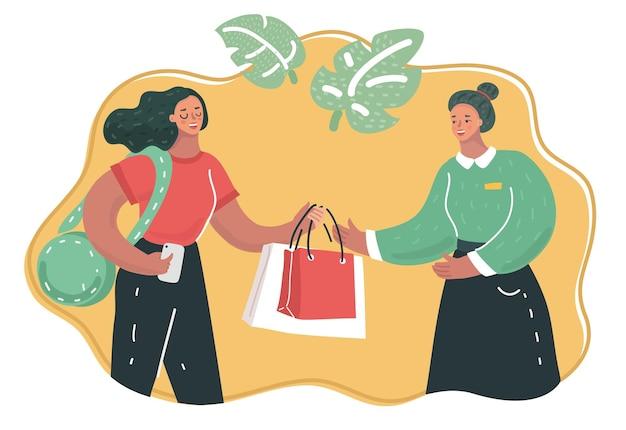 Assistente de compras ajuda cliente