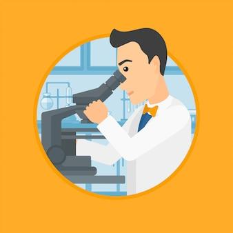 Assistente de laboratório com microscópio.