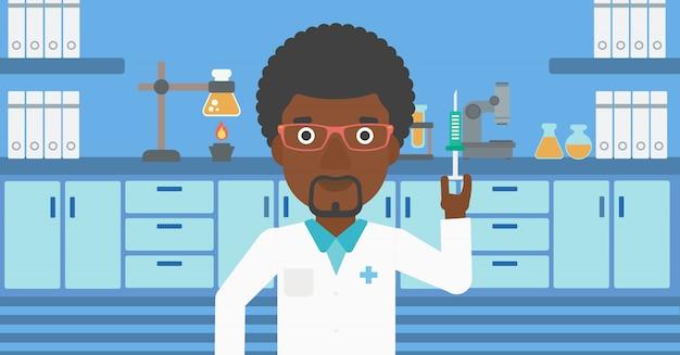 Assistente de laboratório com seringa no laboratório.