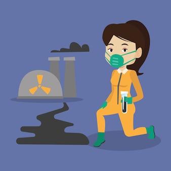 Assistente de laboratório com tubo de ensaio.