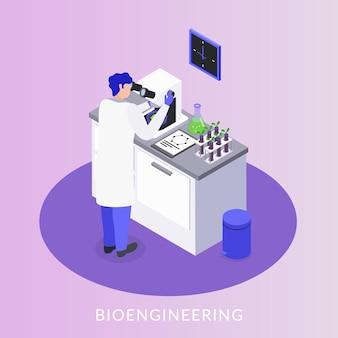 Assistente de laboratório de bioengenharia controlando a composição isométrica de produção de ogm com amostras de tubos de ensaio de microscópio eletrônico