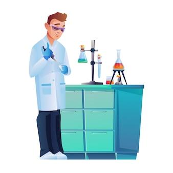 Assistente de laboratório em óculos de segurança conduzindo experimento
