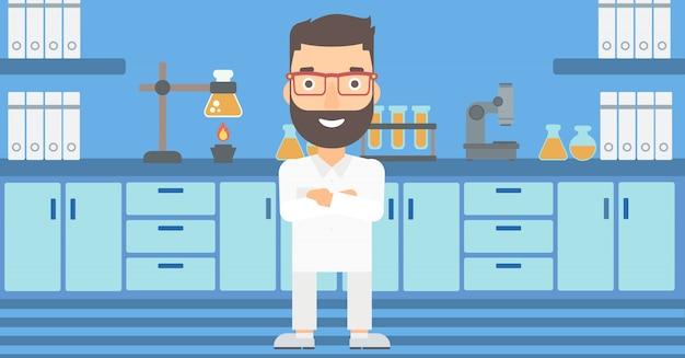 Assistente de laboratório masculino.