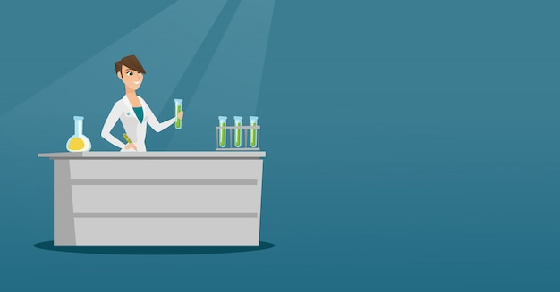 Assistente de laboratório na ilustração vetorial de trabalho.