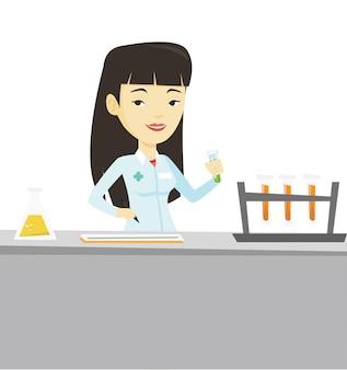 Assistente de laboratório trabalhando.