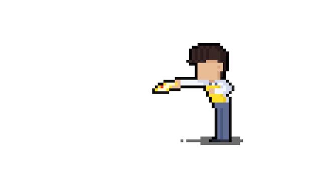 Assistente de loja de desenho animado de arte pixel dando um folheto para design de personagens de pessoas.