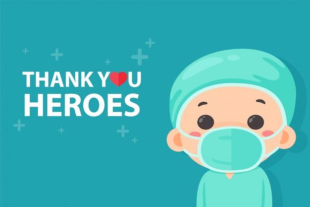 Assistente de médico de desenho animado feliz em ver uma mensagem, agradecendo ao herói. cansado de trabalhar durante a pandemia do vírus corona.