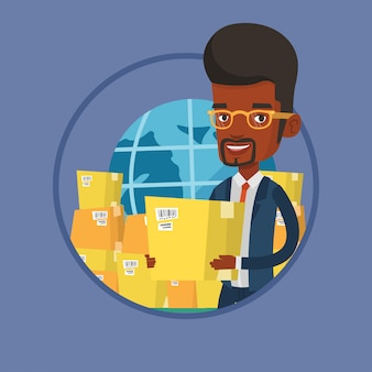 Assistente de negócios do serviço de entrega internacional.