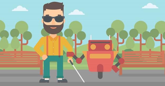 Assistente de robô ajudando cego caucasiano.