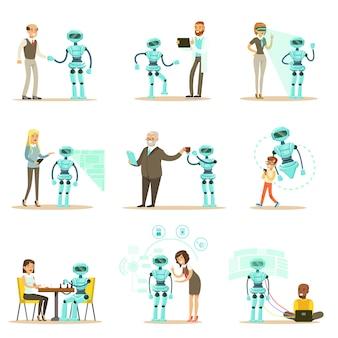 Assistente de robô e pessoas a sorrir, conjunto de caracteres e serviço android companion