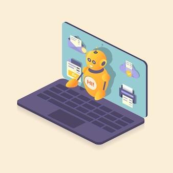 Assistente de robô em um laptop