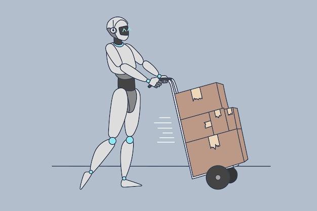 Assistente de robô entrega pacotes para clientes fazerem pedidos