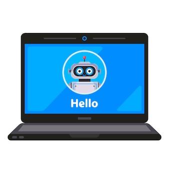 Assistente de robô virtual em um monitor de laptop.