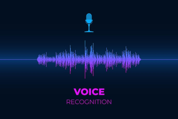 Assistente de som pessoal e botão de microfone de conceito de sistema de reconhecimento de voz com gradiente brilhante