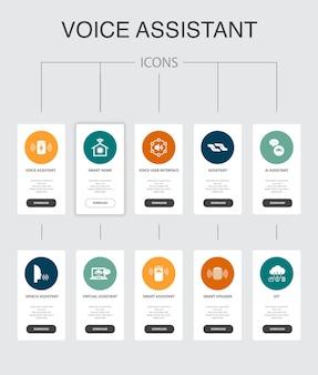 Assistente de voz infográfico 10 etapas ui design.smart home, interface de voz do usuário, alto-falante inteligente, ícones simples iot