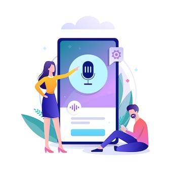 Assistente de voz no conceito de telefone móvel.