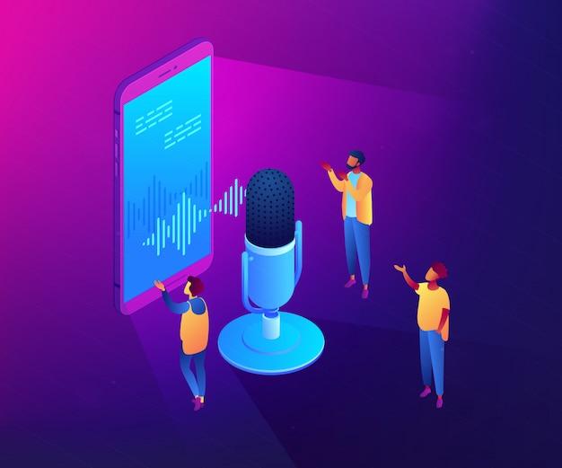 Assistente de voz pessoal isométrica ilustração conceito 3d.