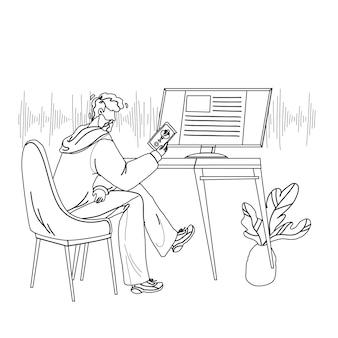 Assistente de voz usando o homem no smartphone, vetor de desenho de lápis de linha preta. menino falando com o aplicativo do telefone móvel do assistente digital. personagem com ilustração de conversação de dispositivo eletrônico