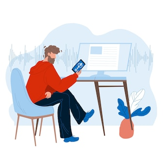 Assistente de voz usando o homem no vetor de smartphone. menino falando com o aplicativo do telefone móvel do assistente digital. ilustração plana dos desenhos animados de personagem com conversa de gadget eletrônico