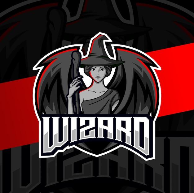 Assistente feminino mascote esport design de logotipo