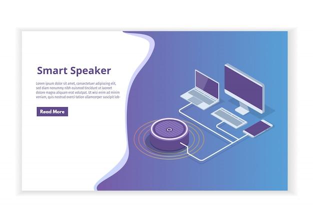 Assistente inteligente speaker, conceito isométrico de controle de voz. ilustração
