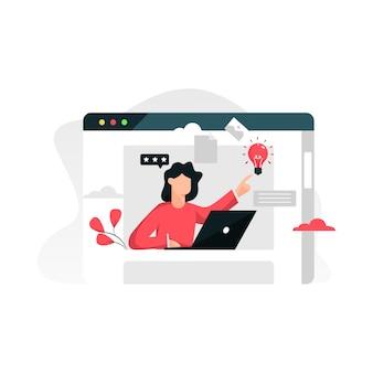 Assistente online conceito plana