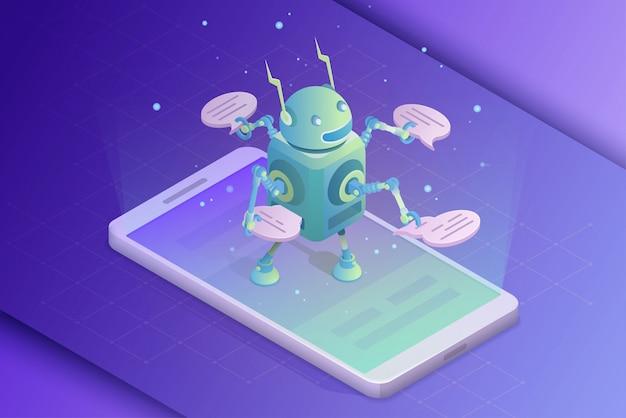 Assistente online. inteligência artificial, comunicação com ilustração de robô
