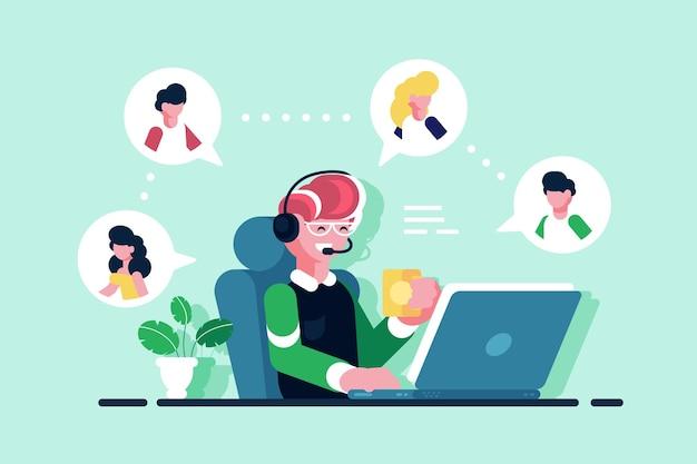 Assistente online trabalhando em ilustração de escritório