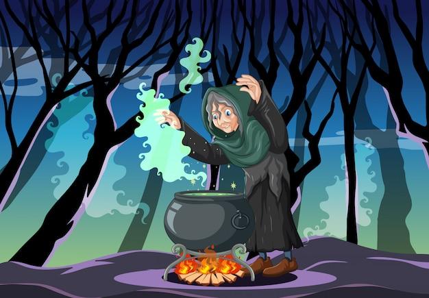 Assistente ou bruxa com pote mágico na cena da floresta escura