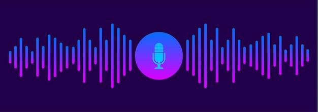 Assistente pessoal e conceito de reconhecimento de voz. símbolo de som. botão de microfone. ilustração.
