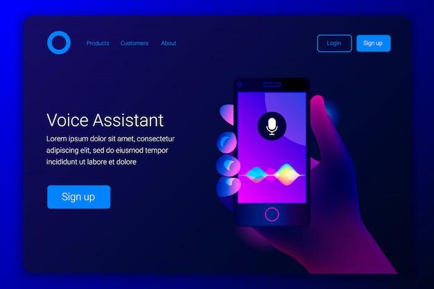 Assistente pessoal e conceito de reconhecimento de voz. tecnologias inteligentes soundwave. mão segura um smartphone na tela do botão do microfone com ondas de imitação de som. modelo de página de destino.