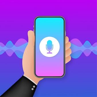 Assistente pessoal e ilustração de gradiente de conceito de reconhecimento de voz de tecnologias inteligentes de ondas sonoras. ilustração.