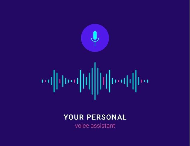 Assistente pessoal e ilustração em vetor plana conceito de reconhecimento de voz de tecnologia inteligente