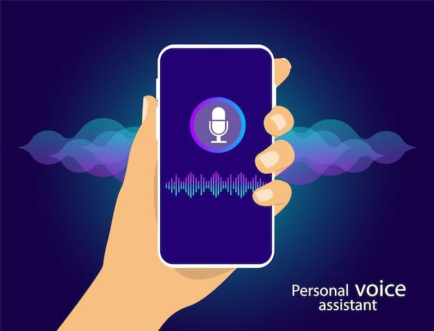 Assistente pessoal e reconhecimento de voz no seu smartphone. linhas de voz e som.